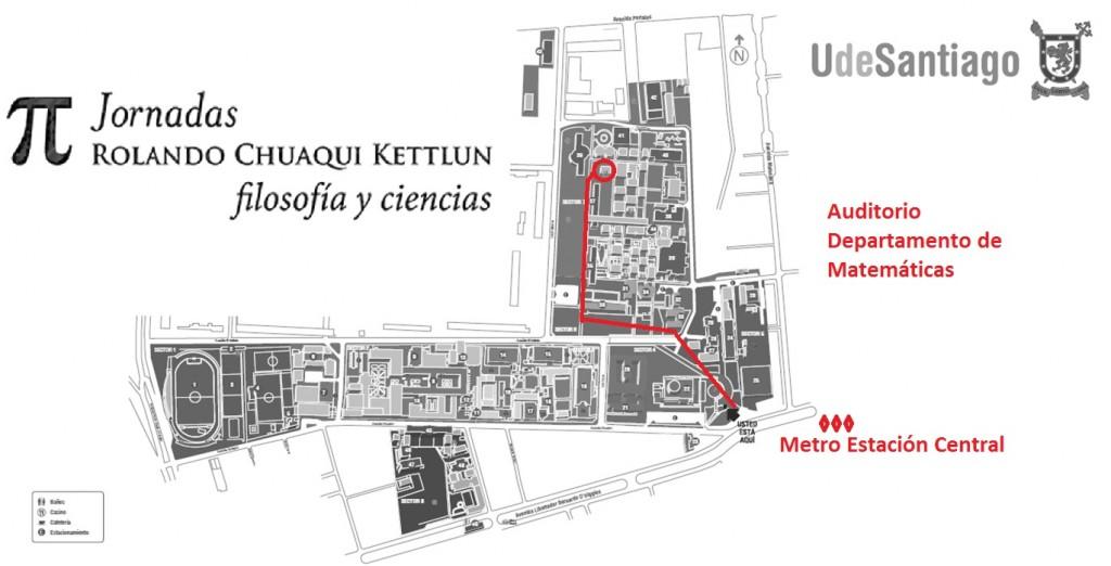Mapa ubicación Auditorio Departamento de Matematicas USACH
